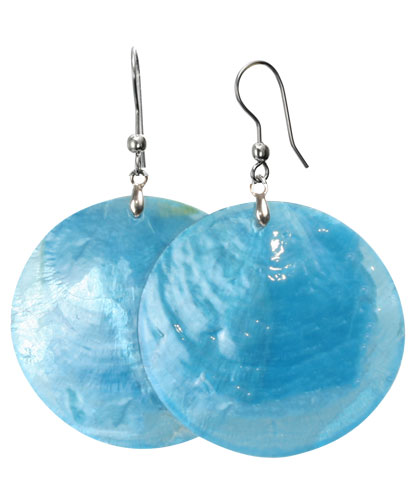 Large Blue Shell Color Changing Earrings