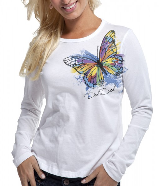 del sol women's color-changing shirt - watercolor butterfly