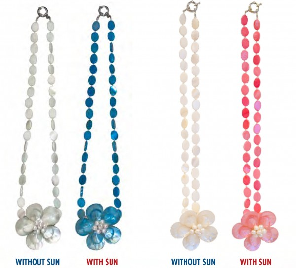 Del Sol Color Changing Flower-Shell Necklaces