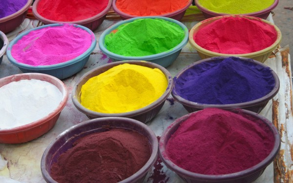 bowls of colorful dye mixes