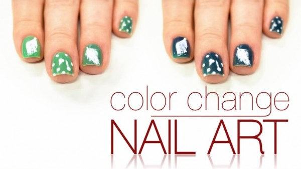 Del Sol Color Change Feather Nail Art Tutorial